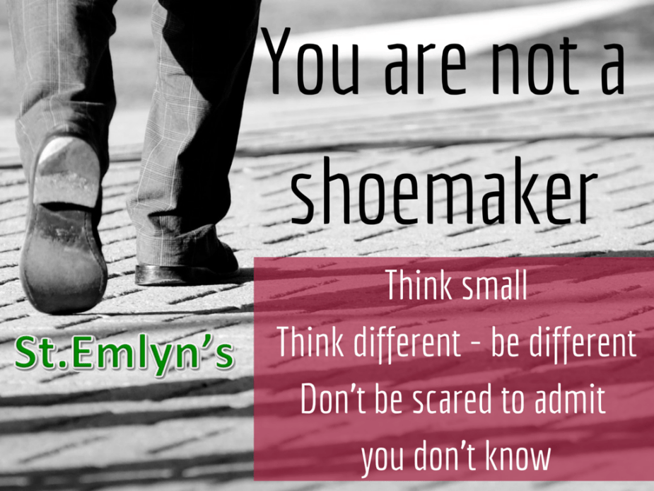 You are not a shoemakerThink smallThink