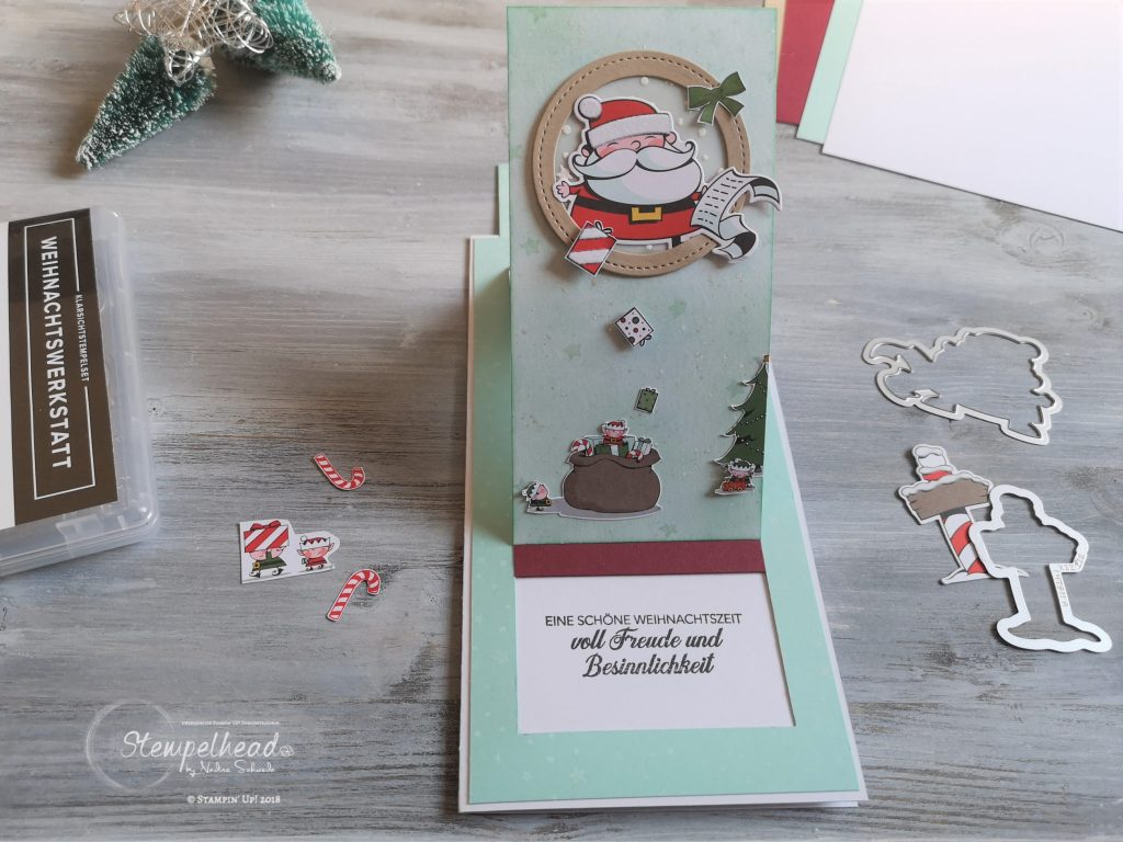 fancy fold slider card weihnachtswerkstatt von stampinup made by stempelhead