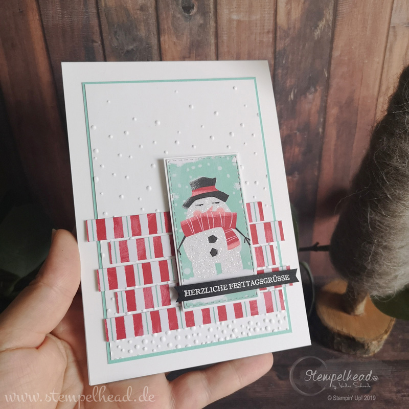bloghop mit herz für alle winter-und weihnachten weihnachtskarte mit hurra es schneit von stampin' up! made by stempelhead