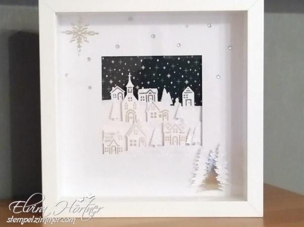 Stampin Up-Winterstädtchen-Weihnachten daheim-Ribba Rahmen-Winterdeko-Stempelzimmer