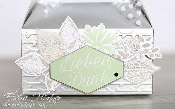 Silberne Minischachtel-Kraft der Natur-Blumiges Etikett-Prägeform Florales Duo-Lindgrün-Granit-Goodie-Verpackung-Stampin Up-Österreich-Stempelzimmer-Blog