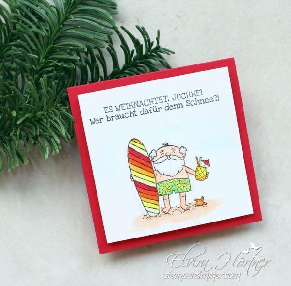Der Weihnachtsmann mit dem Surfbrett-Heiter bis Weihnachtlich-Stampin Up-Herbst-Winter-Katalog-2018-Surfbrett-Weihnachten