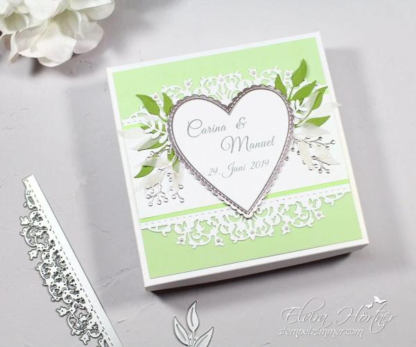 Schachtel für Hochzeitskarte mit feiner Spitze-Hochzeit-Geschenk-Stampin Up-Stempelzimmer