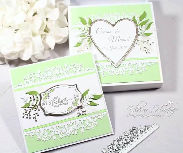 Hochzeitskarte mit passender Schachtel in Apfelgruen und feiner Spitze-Stampin Up-Österreich-Blog-Elviras Stempelzimmer