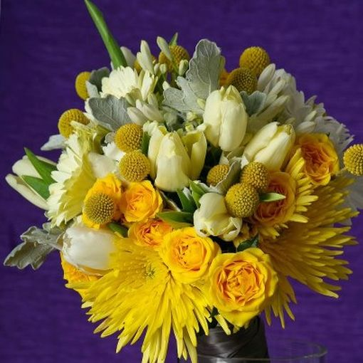 Bouquets - Textural Bouquet in Yellow, White and Dusty Silver