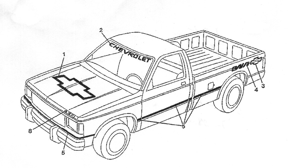 1989 and 1990 Chevrolet Baja Pickup Truck Decals