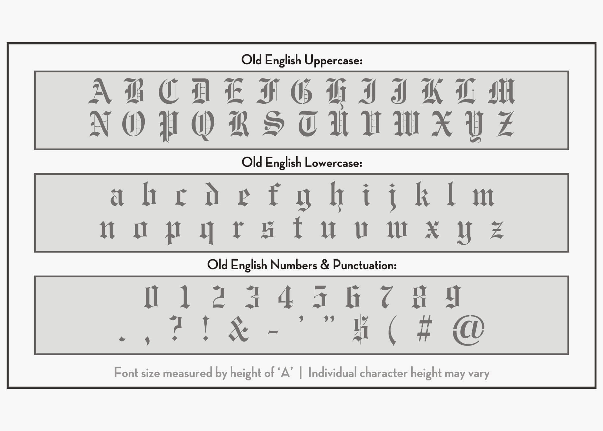 Old English Font Alphabet Stencil