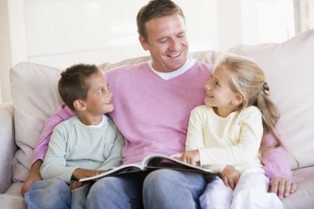 Stepdad reading to stepchildren