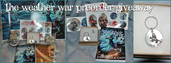 Photos of three giveaway packages for The Weather War preorder giveaway