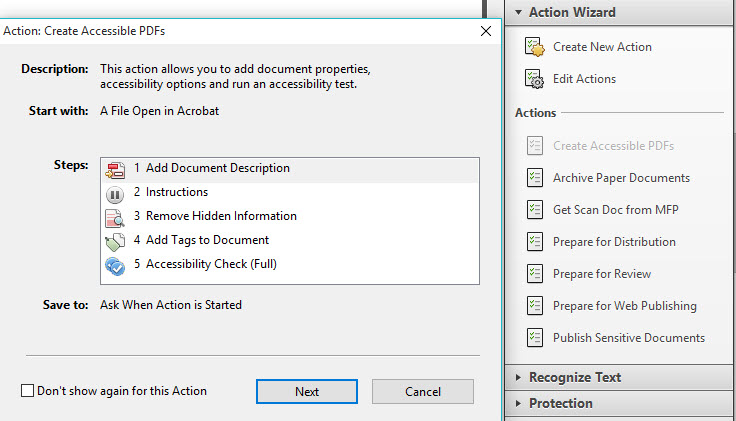 Screenshot of Adobe PDF Action Wizard Accessibility Checker, which guides the user through 5 steps to ensure document accessibility.