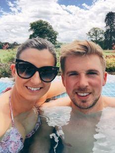 Enjoying the infinity pool