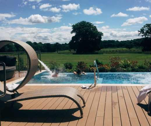 Rockliffe Hall Spa garden with infinity pool