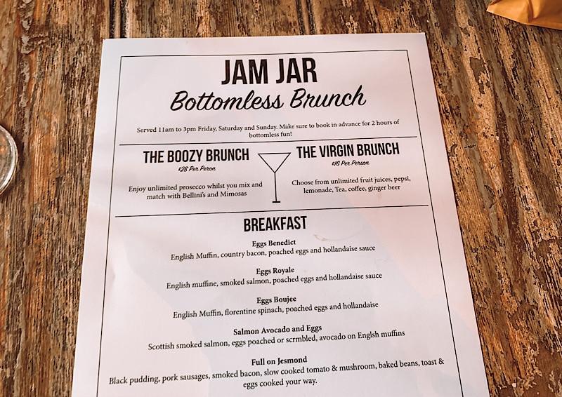 Jam jar bottomless brunch menu