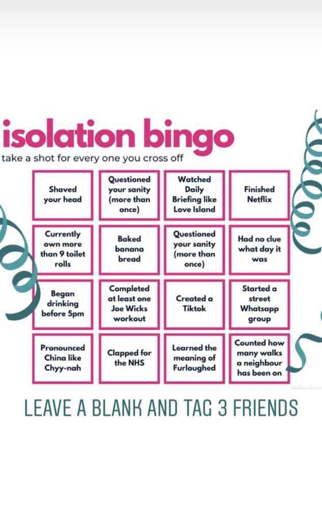 Isolation bingo
