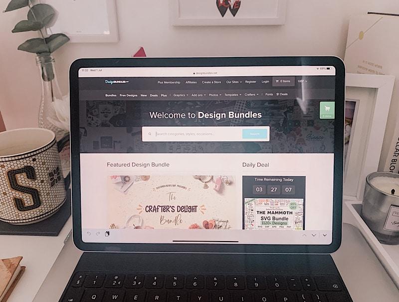 iPad showing design bundles