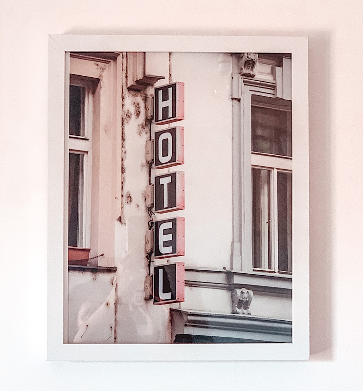 Hotel sign print on the wall