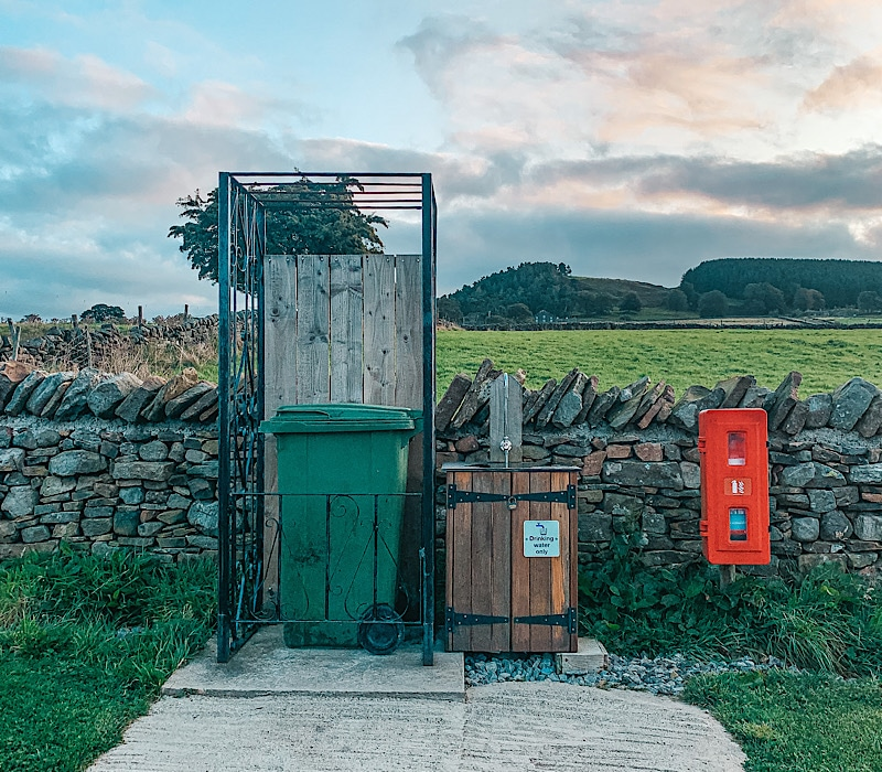 Drinking station at Hill Top Huts