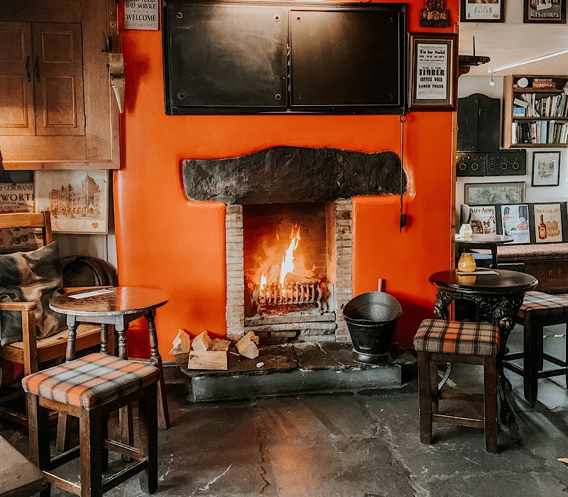 Cosy fireplace in pub