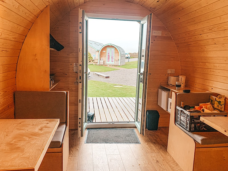 Inside hill top huts glamping