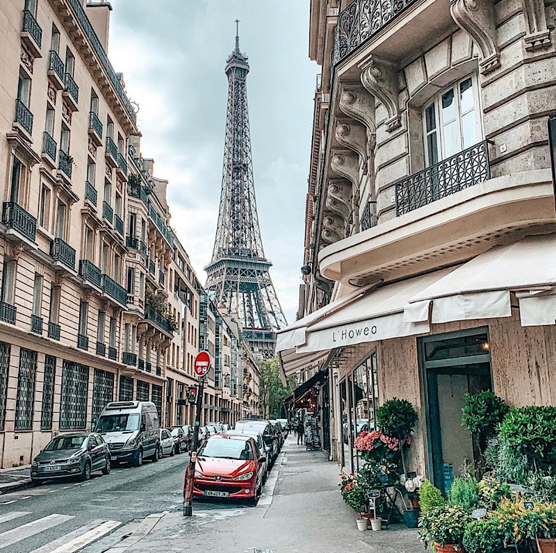 Eiffel Tower through the streets