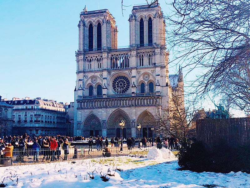 Notre Dame in snow