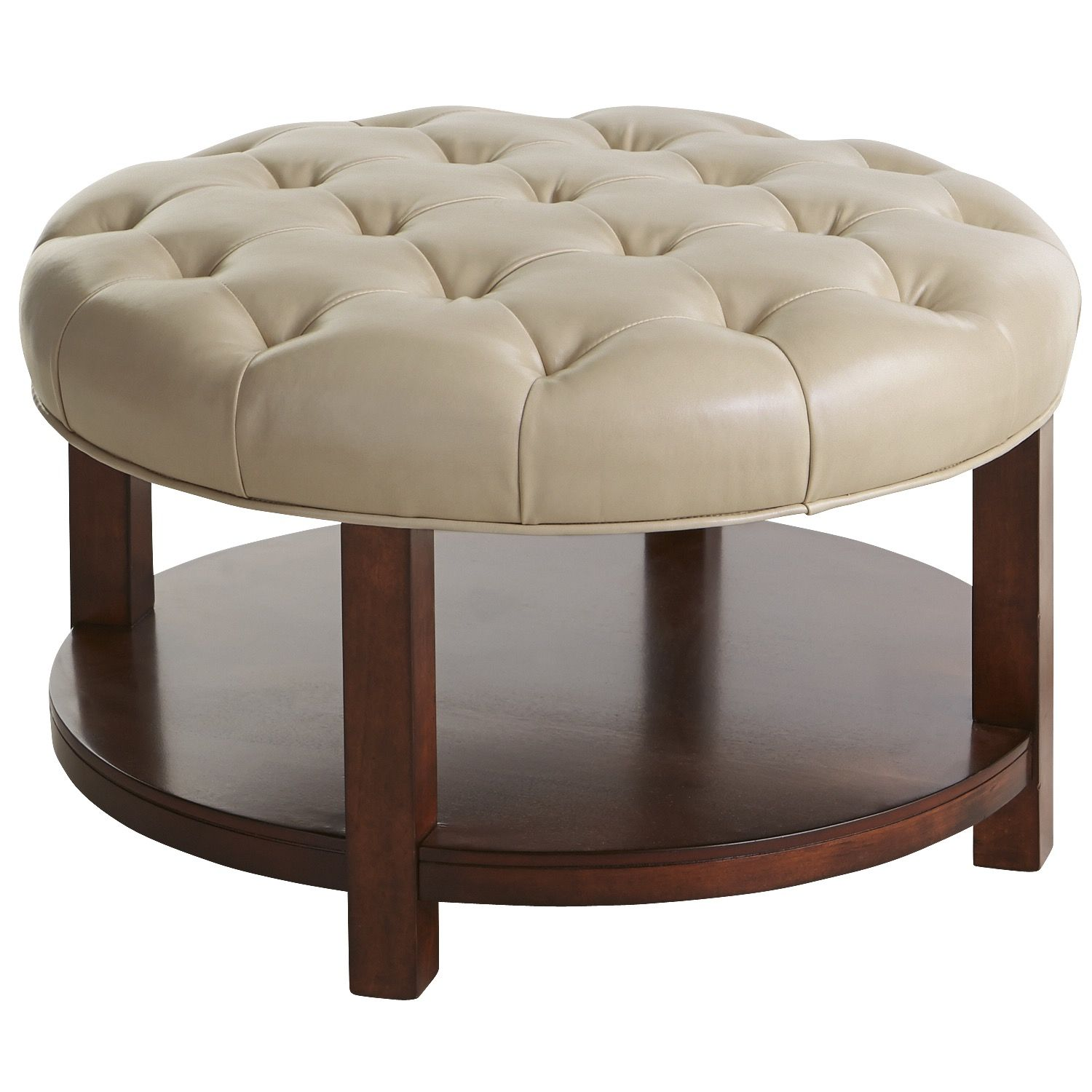 Large Round Leather Ottoman Coffee Table