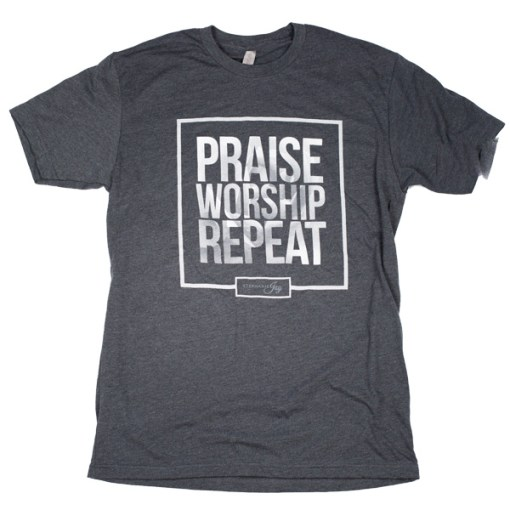Praise Worship Repeat – Charcoal Tee