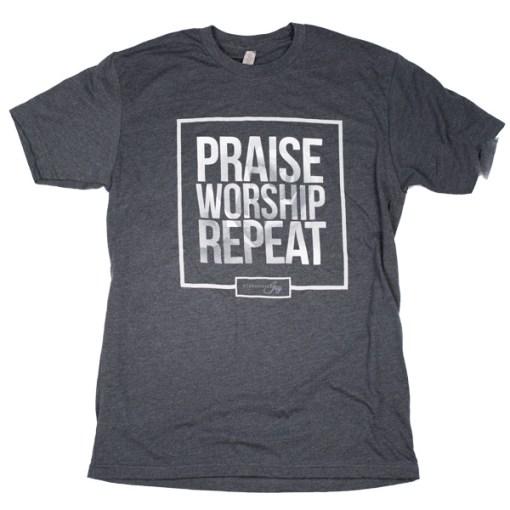 Praise Worship Repeat – Charcoal Tee
