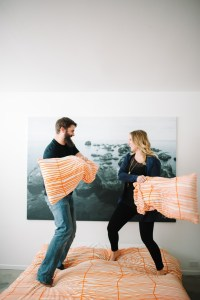 Santa Monica engagement session pillow fight Ikea California.