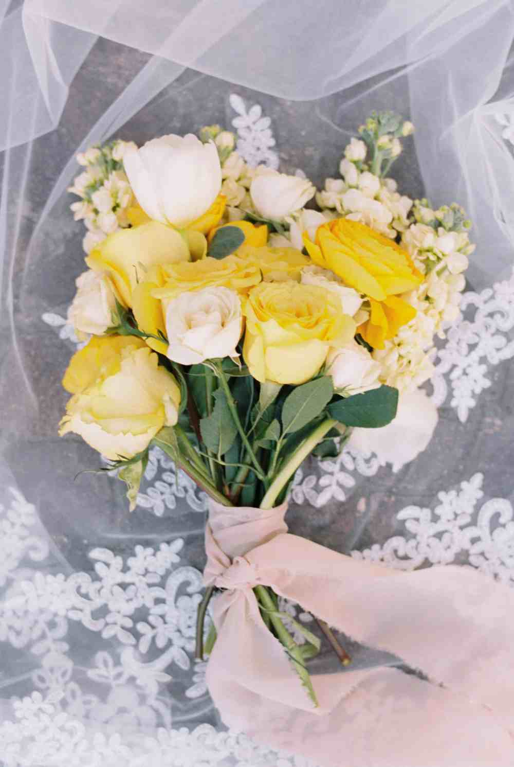 Lush yellow bouquet with silk ribbon