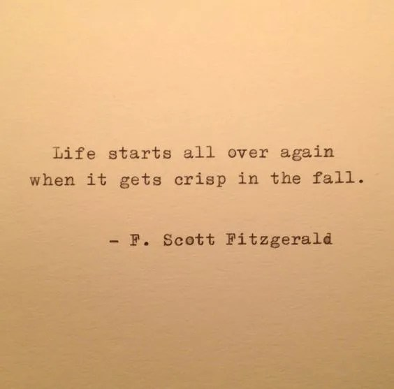 Life starts all over again when it gets crisp in the fall. - F. Scott Fitzgerald // stephanieorefice.net