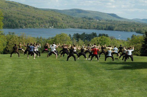Yoga overlooking the lake at Kripalu.