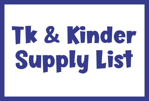 TK and Kinder supply list