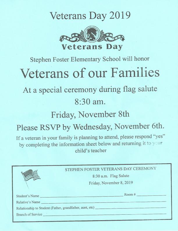 Veteran's Day Ceremony Flyer 2019 - Stephen Foster Elementary
