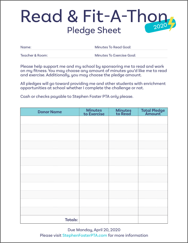 Read & Fit-A-Thon - Pledge Form