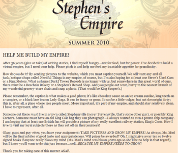 1ère lettre de Stephen King sur Stephen King's Empire