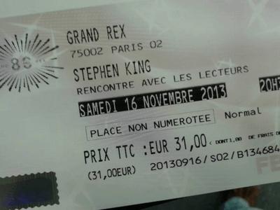 Places au Grand Rex de la venue de Stephen King à Paris