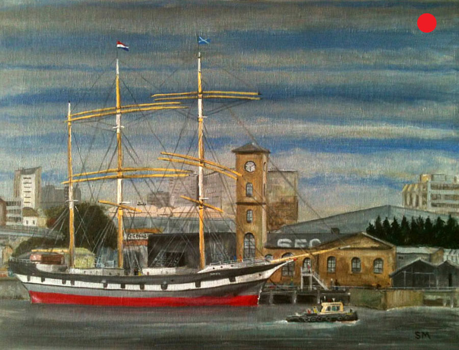 On The River Clyde, Glen Lee Sailing Ship, painting by Stephen Murray