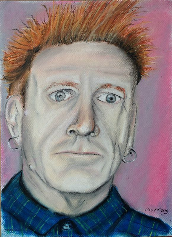 Johnny Rotten of the Sex Pistols and Public Image Limited. Soft Pastel drawing by artist Stephen Murray.