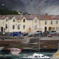 Dunure Harbour, Ayrshire by Scottish landscape painter Stephen Murray