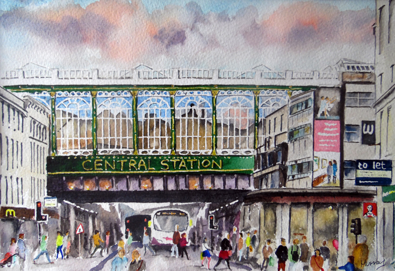 Glasgow Central Station, Helianman's Umberella, Argyle Street, Glasgow. Painting by Glaswegian Artist Stephen Murray