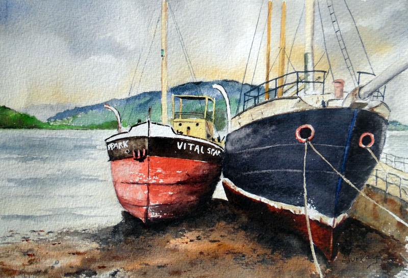 inverary boats, painting Stephen Murray