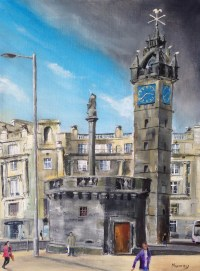 Tolbooth Steeple, Glasgow Cross, Argyle Street, Glasgow Painting by Scottish landscape painter Stephen Murray
