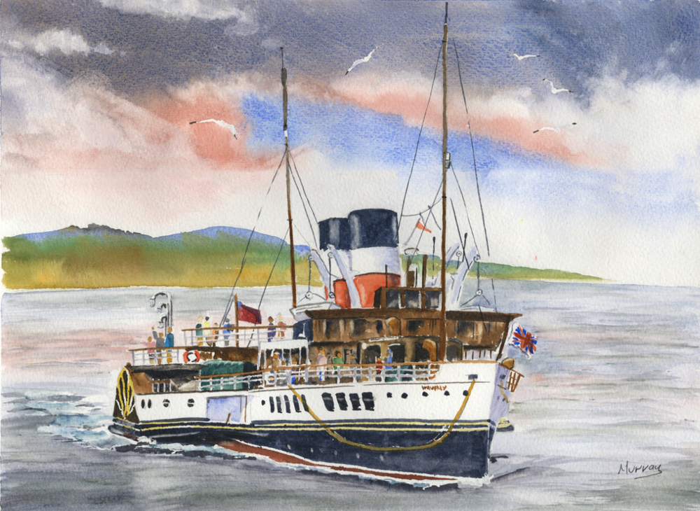 Waverley Paddle Steamer 2, Scottish watercolour painting