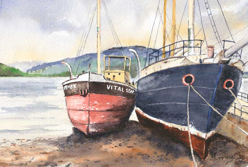 Scottish Seascape, Inveraray, Loch Fyne Boats. Watercolour painting by Stephen Murray