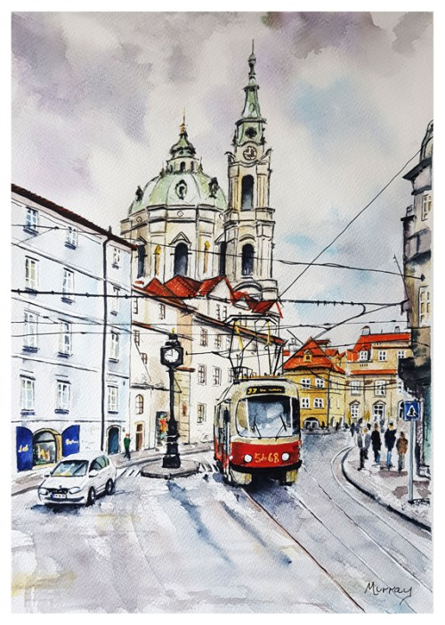 Tram in Prague Stephen Murray Art