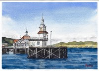 Dunoon Pier Scottish Landscape Watercolour Painting