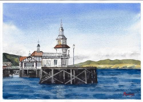 Dunoon Pier Scottish Landscape Watercolour Painting