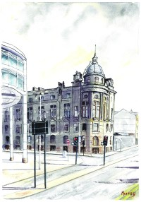 Clyde Port Authority Building Glasgow Watercolour Painting