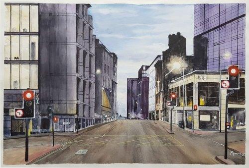 Glasgow City Centre Watercolour Painting